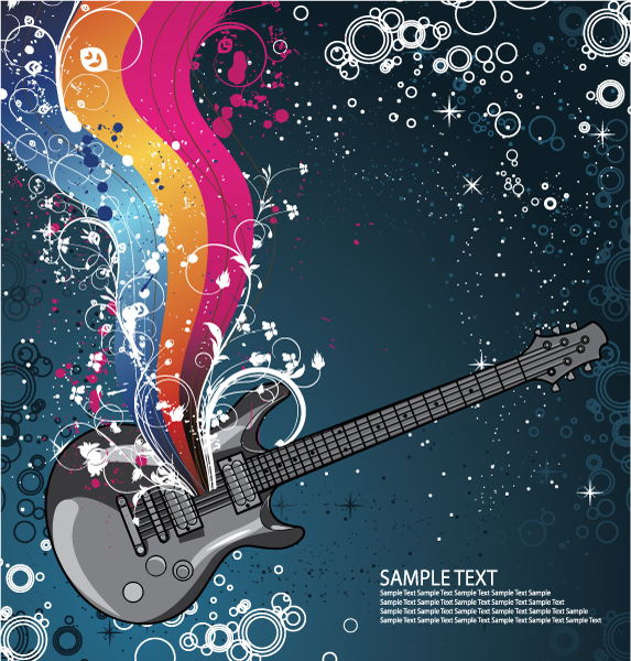 Creative vintage music background vector set 08 - Vector ...