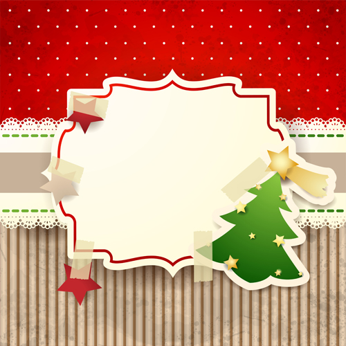 Cute Christmas cards with frame vector set 01 free download