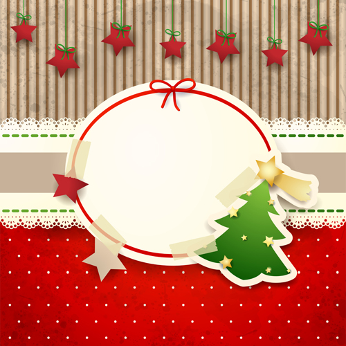 Cute Christmas cards with frame vector set 02 - Vector Card ...