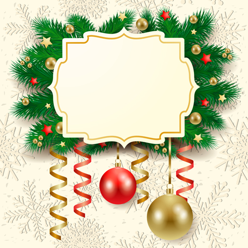 Cute Christmas cards with frame vector set 03