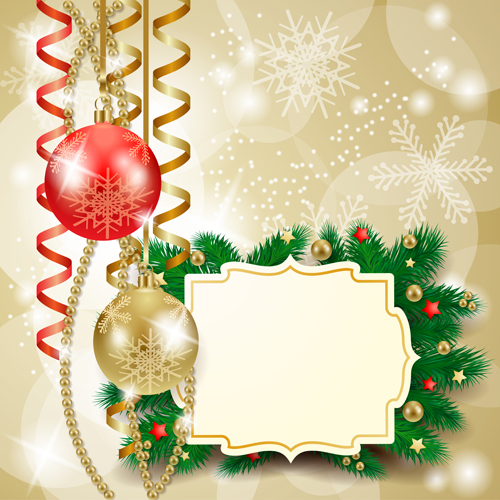 Cute Christmas cards with frame vector set 04 - Vector Card ...