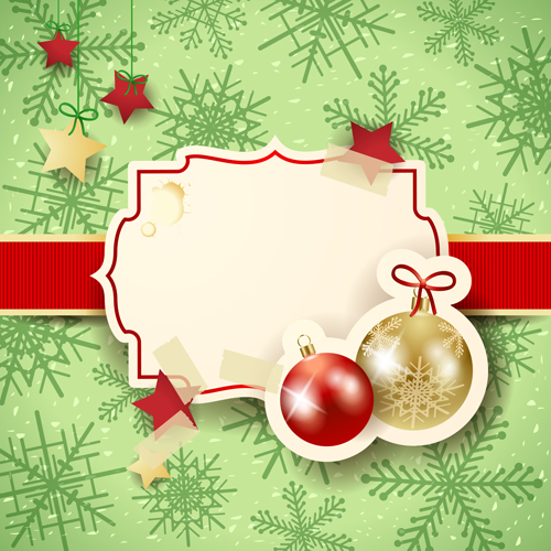 Cute Christmas cards with frame vector set 06 - Vector Card ...