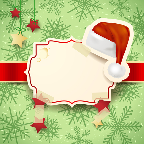 Cute Christmas cards with frame vector set 07 - Vector Card ...