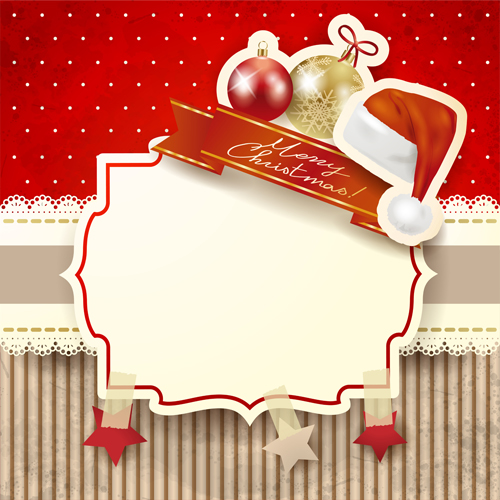 Cute Christmas cards with frame vector set 08 - Vector Card ...