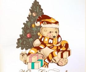 Cute Teddy Bear and Christmas tree vector
