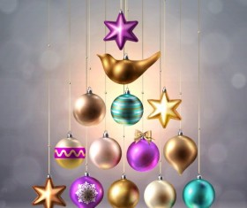 Different shapes christmas baubles vector 02