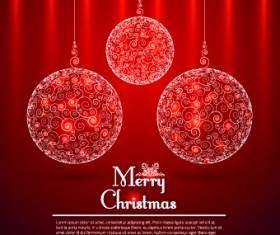Floral Christmas ball red background vector 01