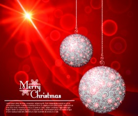 Floral Christmas ball red background vector 02