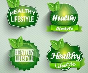 Natural Food label design vector 02