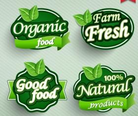 Natural Food label design vector 04