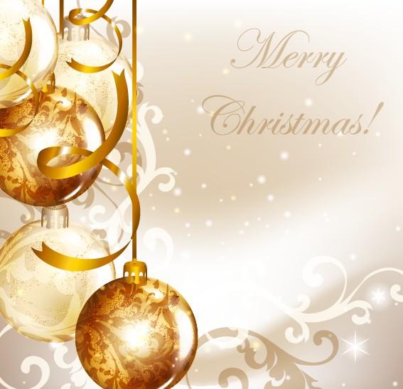Golden Christmas Balls 2014 Background Vector 03