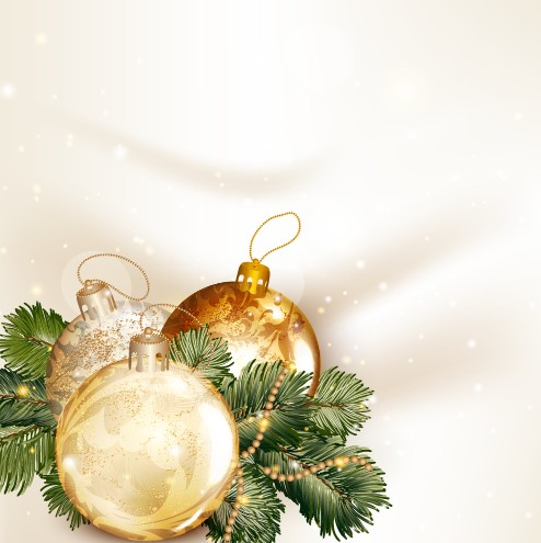 Golden Christmas Balls 2014 Background Vector 05 Vector