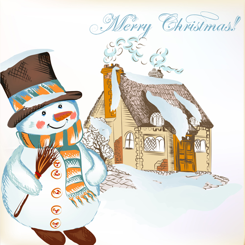 Hand drawn snowman christmas background vector 01