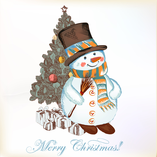 Hand drawn snowman christmas background vector 02