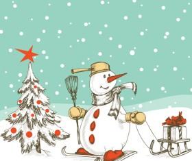 Hand-drawn snowman christmas background vector 04