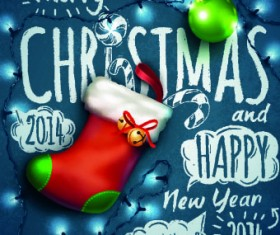 Handwriting 2014 Merry Christmas backgrounds vector 02