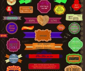 Vintage labels and ribbon design vector set 05