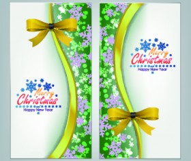 2014 Merry Christmas bow cards design vector set 01