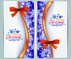 2014 Merry Christmas bow cards design vector set 02