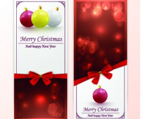 2014 Merry Christmas bow cards design vector set 03