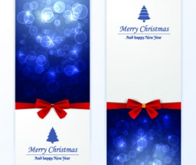 2014 Merry Christmas bow cards design vector set 04