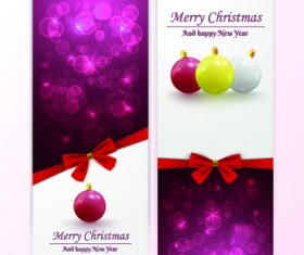 2014 Merry Christmas bow cards design vector set 05