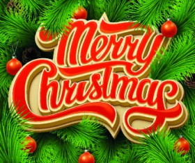 Merry Christmas design with Pine needles background