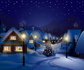 Merry Christmas winter night designs vector 01