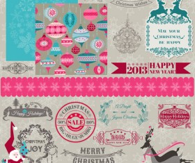 Vintage Christmas labels and elements vector set 01