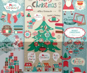 Vintage Christmas labels and elements vector set 02
