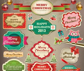 Vintage Christmas labels and elements vector set 03