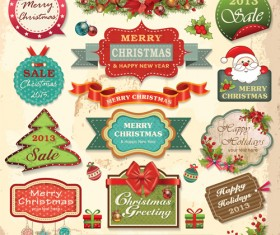 Vintage Christmas labels and elements vector set 04