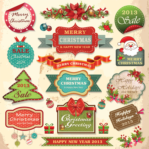 Vintage Christmas labels and elements vector set 04 - Vector ...