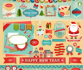Vintage Christmas labels and elements vector set 05