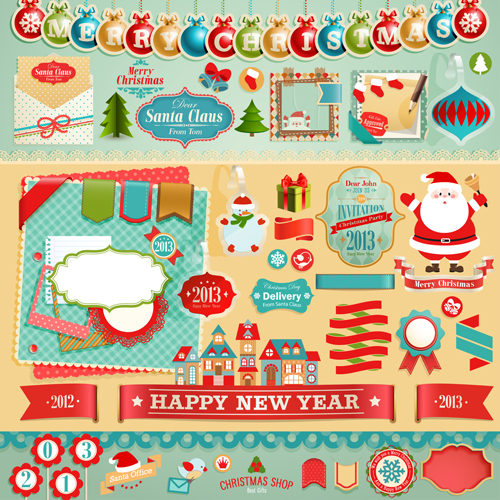 Vintage Christmas labels and elements vector set 05 - Vector ...