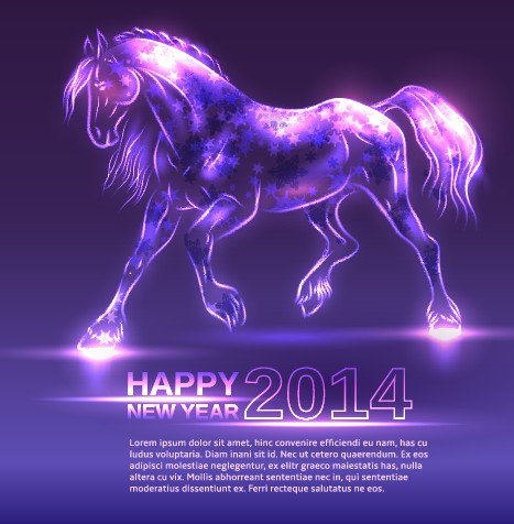 Neon Horse New Year design vector background 01 free download