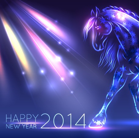 Neon Horse New Year design vector background 03 free #0: Neon Horse New Year design vector background 03