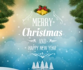 Pine needles with bell christmas background vector 02