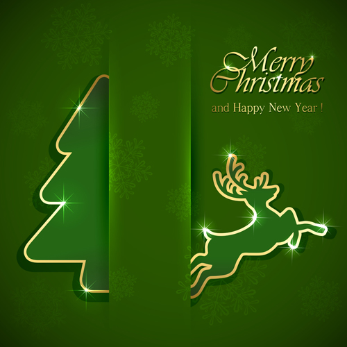 reindeer christmas green background vector 01 download name reindeer ...