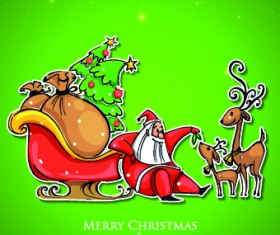 Santa with green christmas background vector