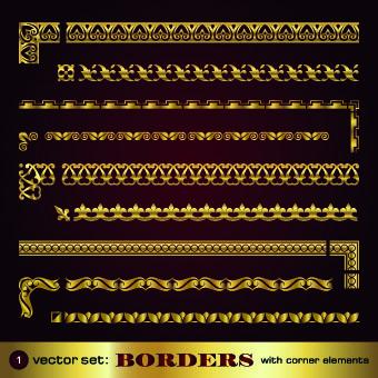 Set of golden borders vector 02
