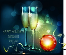 Shiny Christmas background and Wineglass vector 01
