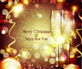 Shiny Christmas background and Wineglass vector 02