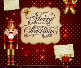 Shiny merry christmas vector greeting cards