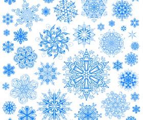 Different snowflakes pattern design vector set 03