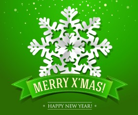 Snowflakes and green Christmas background vector