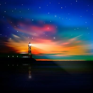 Beautiful Sunrise landscape vector set 04