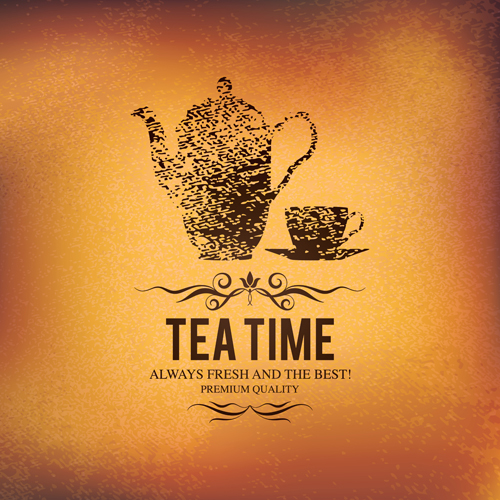 Tea time design element vector background set 01 - Vector Background ...