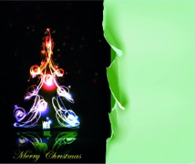 Tear Paper with Christmas fireworks background vector 02