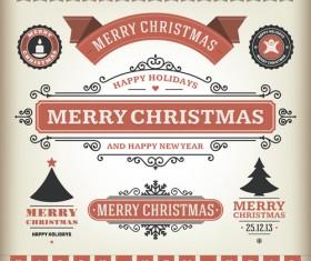 Vintage 2014 Christmas labels elements vector 01